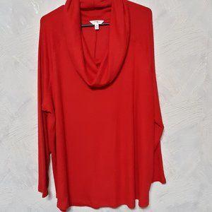 BEAUTIFUL RED NWT WOMENS TOPS TERRA & SKY COWL 3X